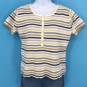 Vintage Cream and Blue Striped Crop Top
